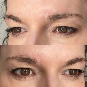 An example of eyebrows before they have been microbladed